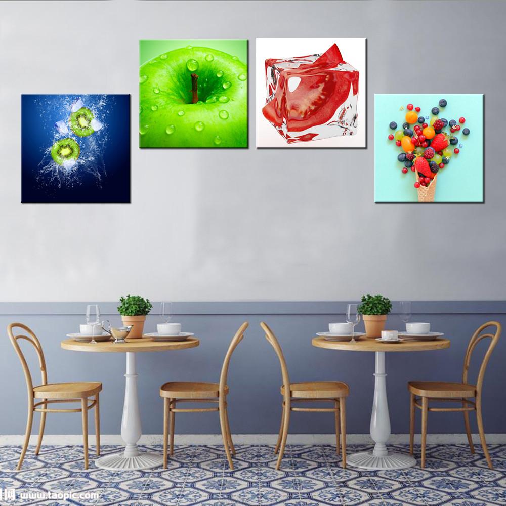 4 Stücke/frisches Obst Bilder Leinwand/kiwi Und Berry Leinwand ...