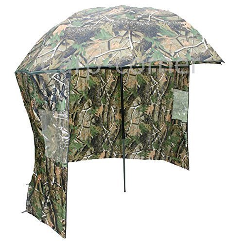 45 Inch Fishing Tackle Brolly Umbrella System with Zip On sides In Camo