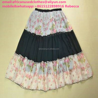 2017 year beautiful and bright used clothing/used r/silk material long skirt