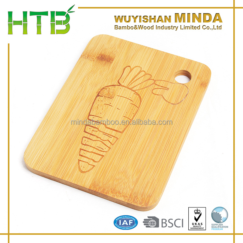 Bamboo Laser Engraved Cheese Cutting Block with hanging hole