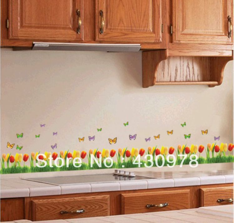 QZ014 Free Shipping 1Pcs Gorgeous Tulip Flower Butterfly Fence Removable PVC Wall Stickers <font><b>Elegant</b></font> Fancy <font><b>Home</b></font> <font><b>Decoration</b></font> Gift