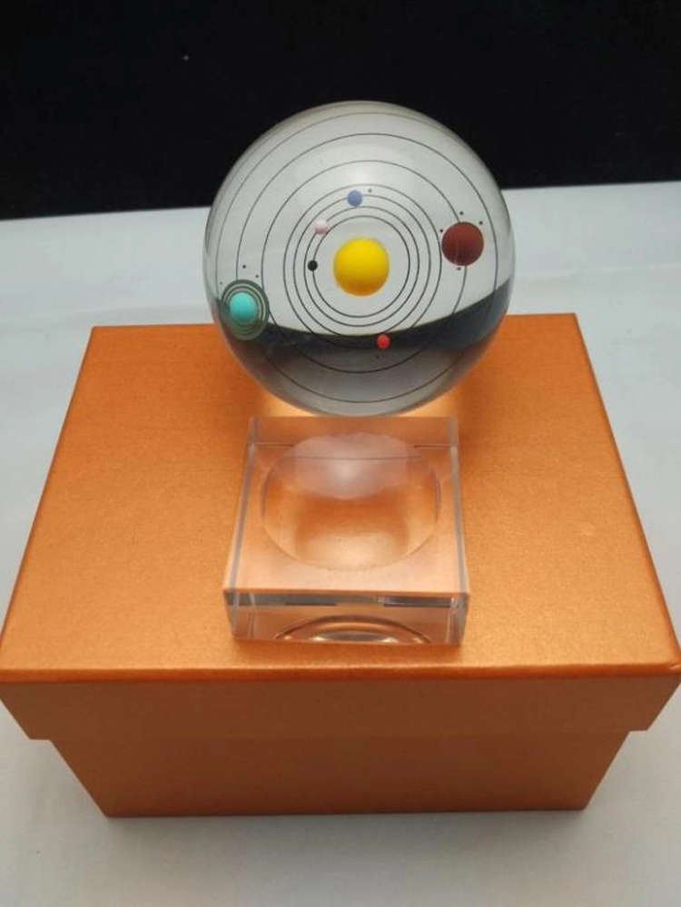 laser engraving custom cheap universe solar system model crystal with tha base