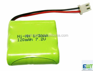 ni-mh 1/3aaa rechargeable battery pack 7.2v 120mAh nimh battery