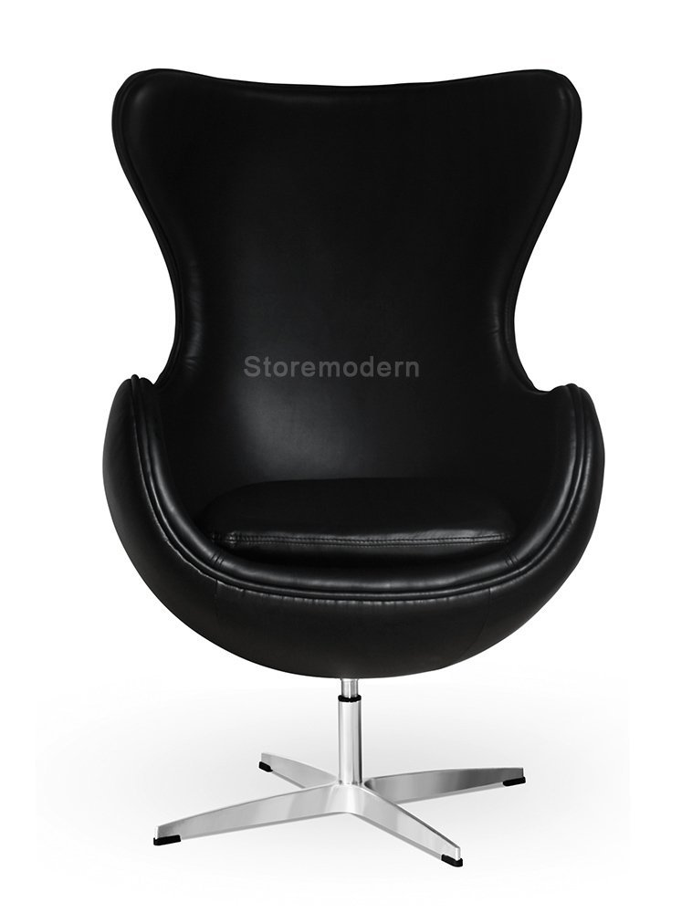 Arne Jacobsen Egg Chair, Available in Leatherette or Cashmere, Heavy duty steel base (4-spoke), 5 Color Options: White, Black, Red, Green, Orange and Rose Pink (Black (Leatherette))