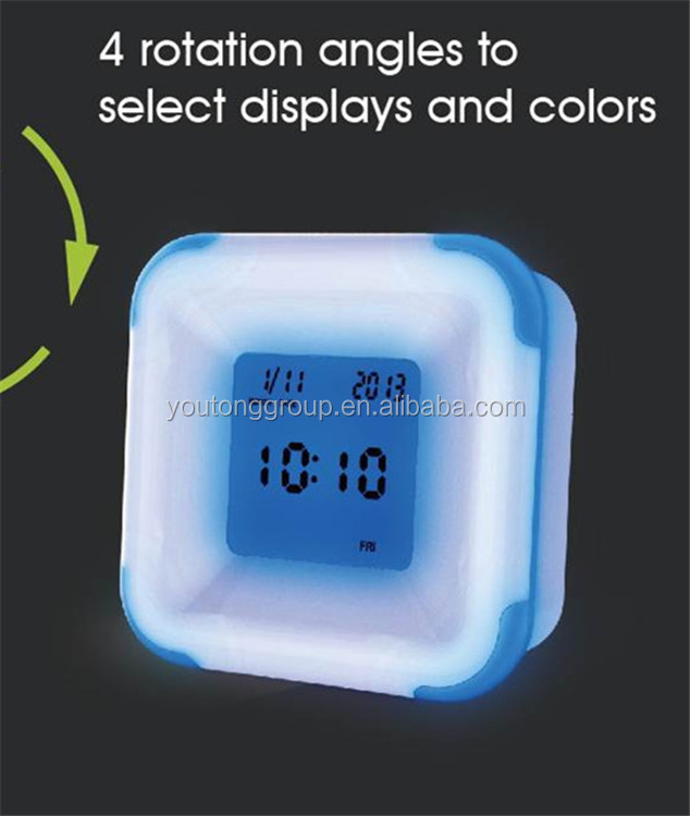 YT6178 LCD Alarm Clock With Different Colors Back Light