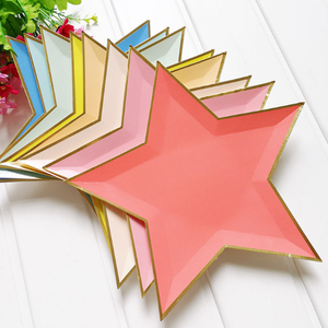 Star Plates Graduation Party Decor First Birthday Rainbow Boy Girl Baby Shower Foil Paper Disposable Plate Party Tableware