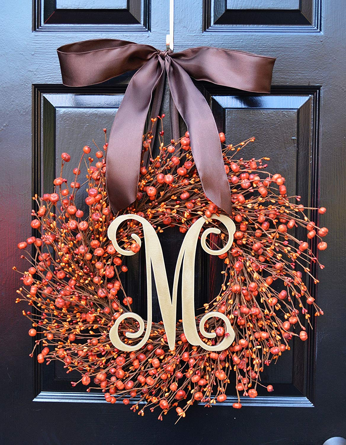 Elegant Holidays Handmade Fall Pumpkin Berry Wreath w/ Monogram & Bow, Decorative Front Door to Welcome Guests-for Outdoor or Indoor Home Wall Accent Décor for Thanksgiving and Halloween- 16-24 inches