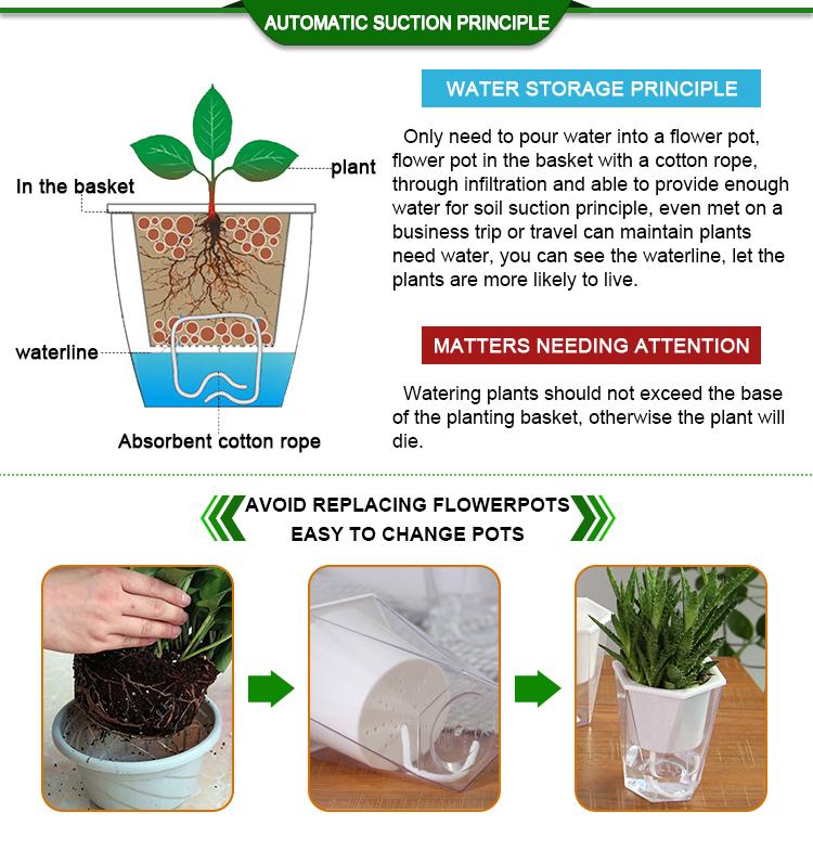 Oliz plastic flower pots home garden vegetable self watering plant pot  for indoor plants