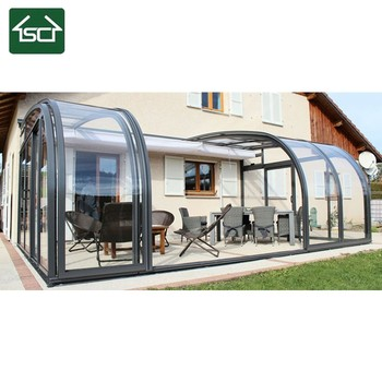 Sliding Glass Roof With Aluminium Frame And Polycarbonate Roofing