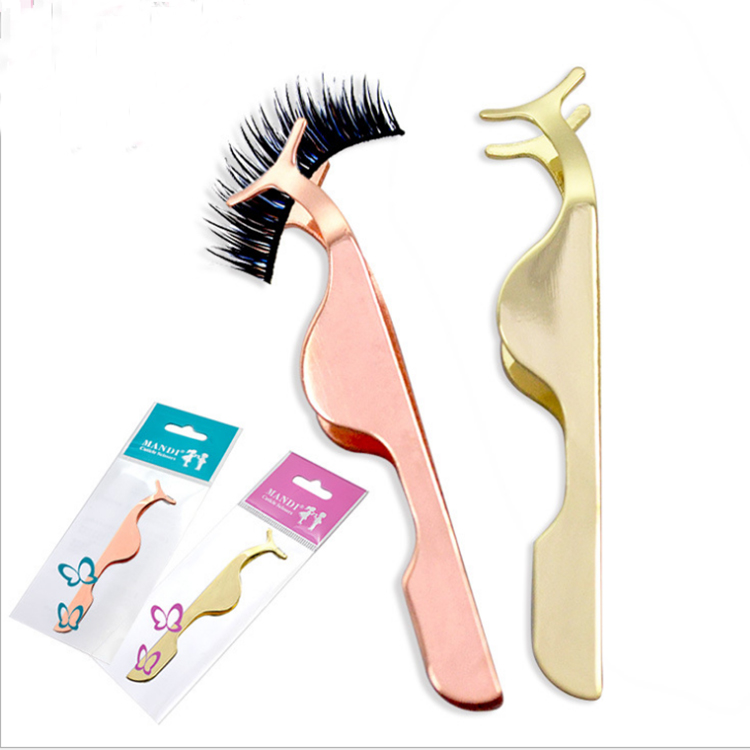 Private Label Custom Logo Stainless Steel Rose Gold Eyelash Extension Tweezers