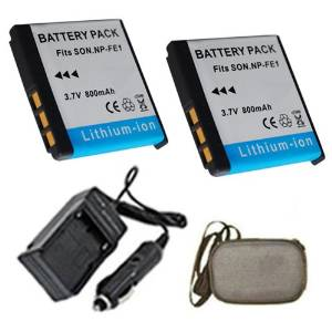 ValuePack (2 Count): Extended Life Replacement Digital Camera and Camcorder Battery PLUS Mini Battery Travel Charger for Sony NP-FE1, NPFE1, Cyber-shot: DSC-T7, DSC-T7B - Hard Case Camera Bag