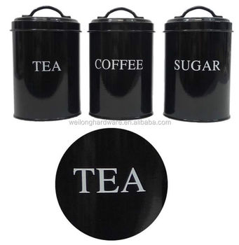 Tea Coffee Sugar Black Canister Canisters Printed Metal Kitchen