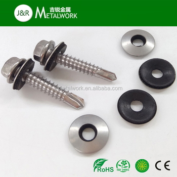 #6 SS410 Stainless Steel Hex Head Roofing Self Drilling Screw With EPDM Washer