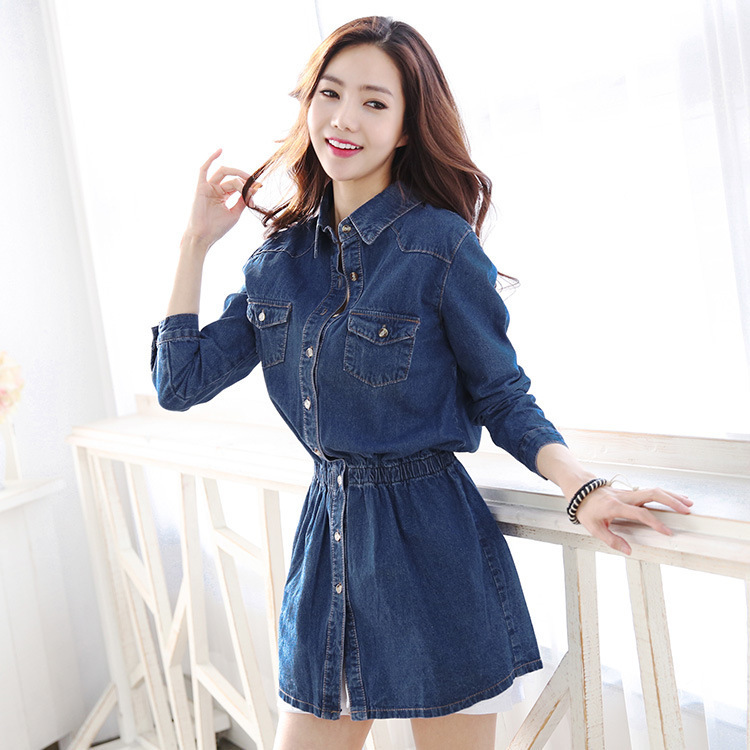 0a17f5fde35 Get Quotations · 2015 new fashion women denim jeans dresses Half Roll  Sleeve Long Denim Dresses cute sexy denim