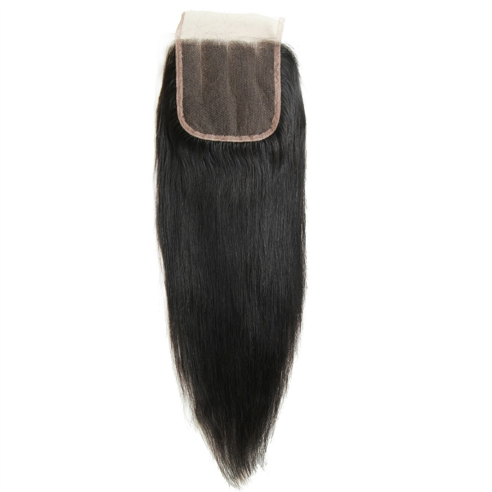 100% Black Brazilian Virgin Remy Human Hair Straight Lace Top Closure