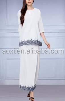 2015 Fashion Ladies Summer White/black Kedah Wear With Embroidery ...