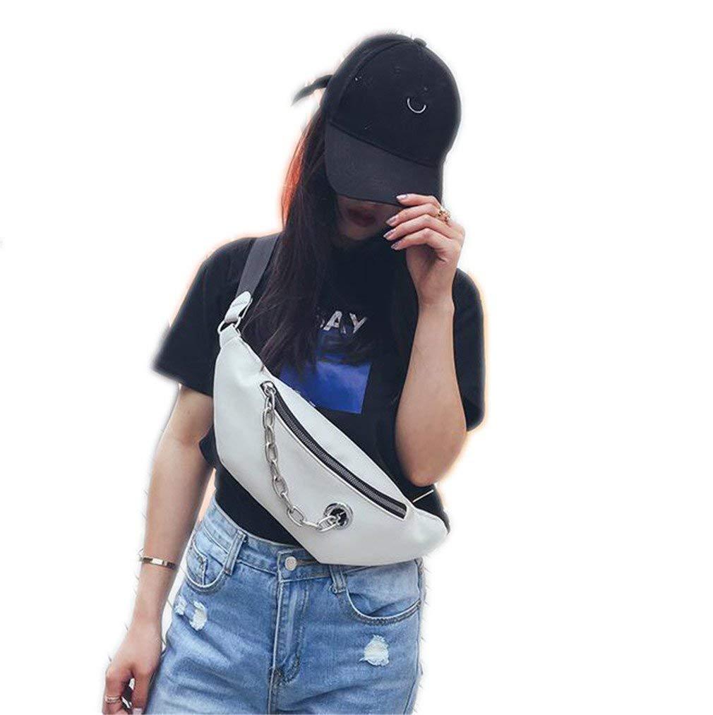 JNHVMC Women Waist Bag Casual Pu Leather Chain Shoulder Bags Zipper Chest Waist Bags Travel Chest Bag Waist Pack
