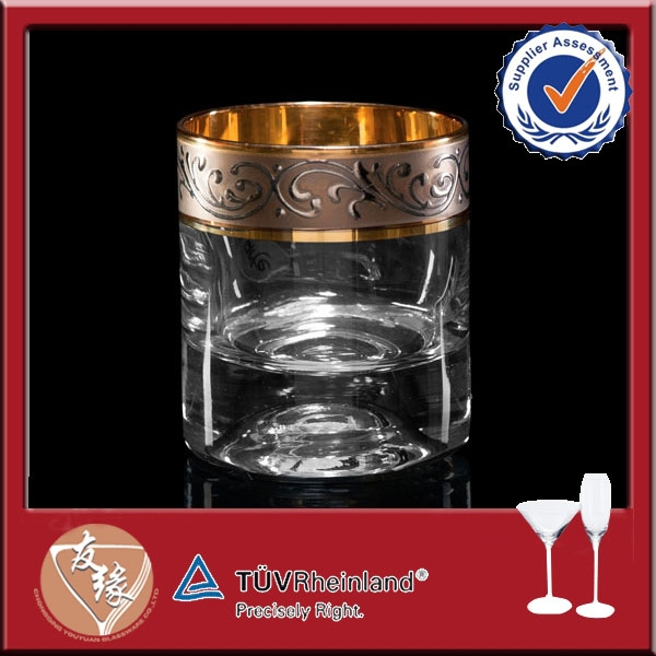 6.3oz decorative gold plated whisky glass with thick bottom