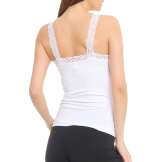 Fancy Nylon Lace Trim Wrinkled Camisole Top for Women's Tank Tops wholesale