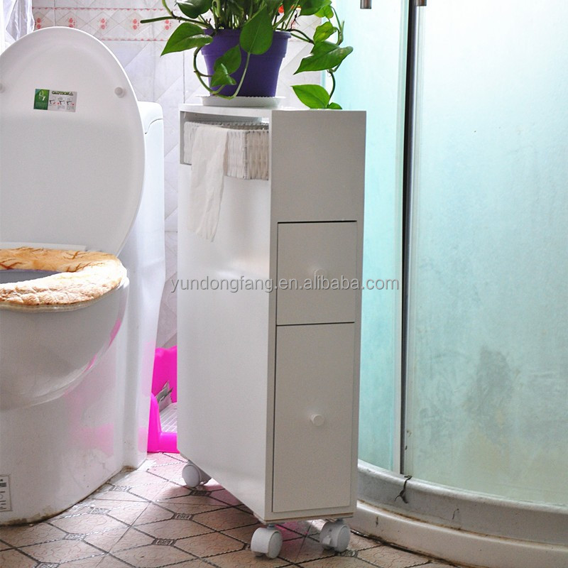 new design portable white MDF toilet storage cabinet