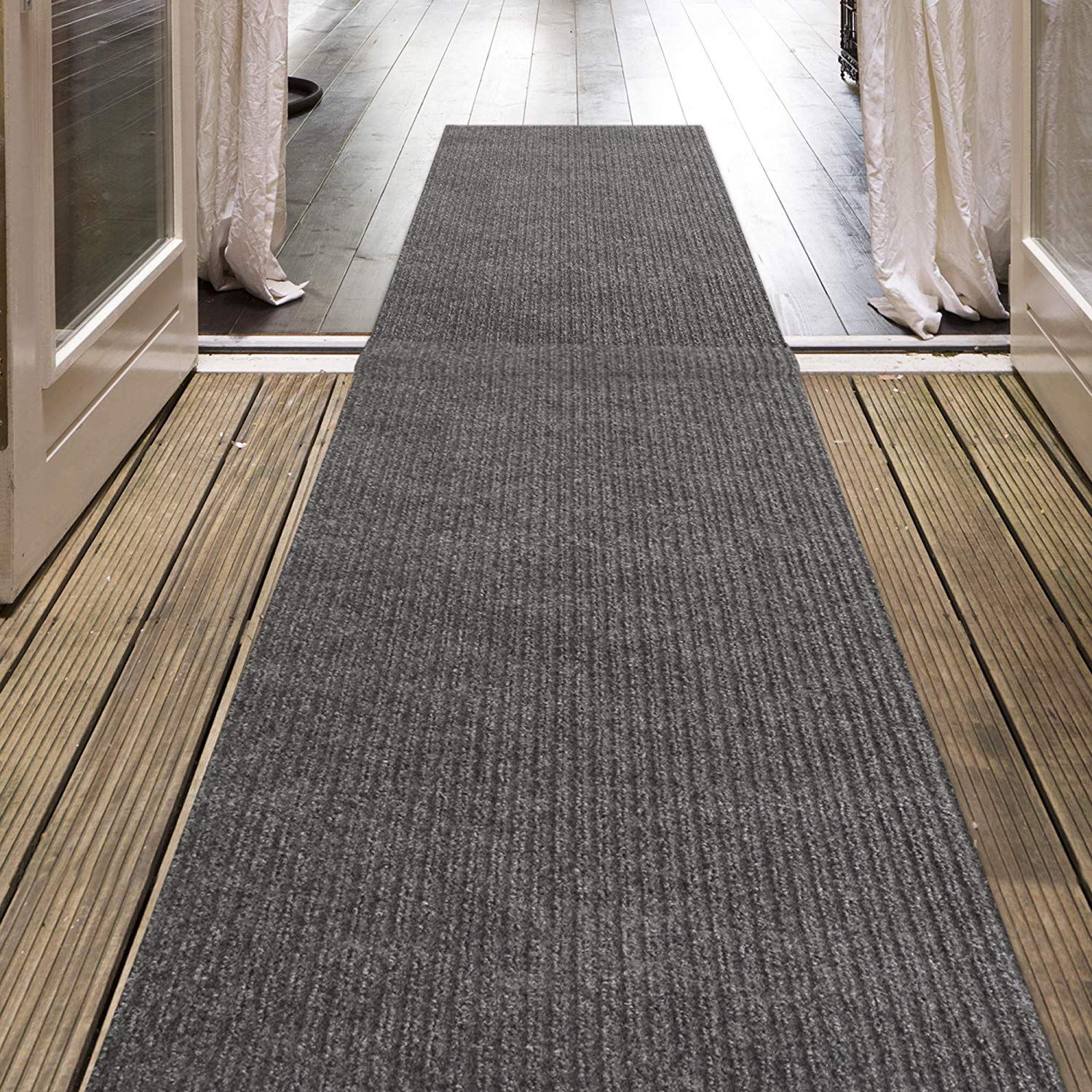 Icustomrug Indoor Outdoor Utility Ribbed Carpet Runner And Area Rugs In Grey Many
