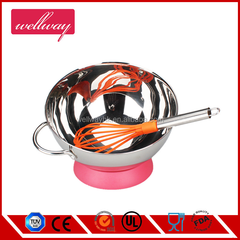 Stainless Steel Mixing Bowl | Salad Bowl with rubber bottom - 24cm