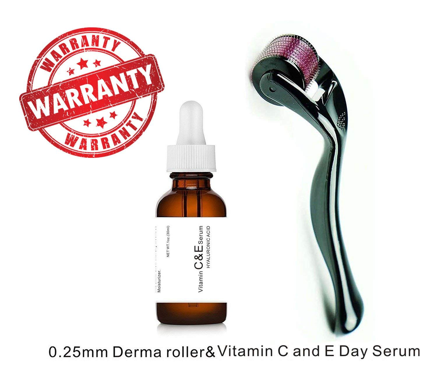 Sweet Dream Vitamin C and E Day Serum with Hyaluronic Acid,Anti aging skin care product/anti wrinkle serum will fill fine lines,even skin tone and fade age spots-plus 0.25mm derma roller