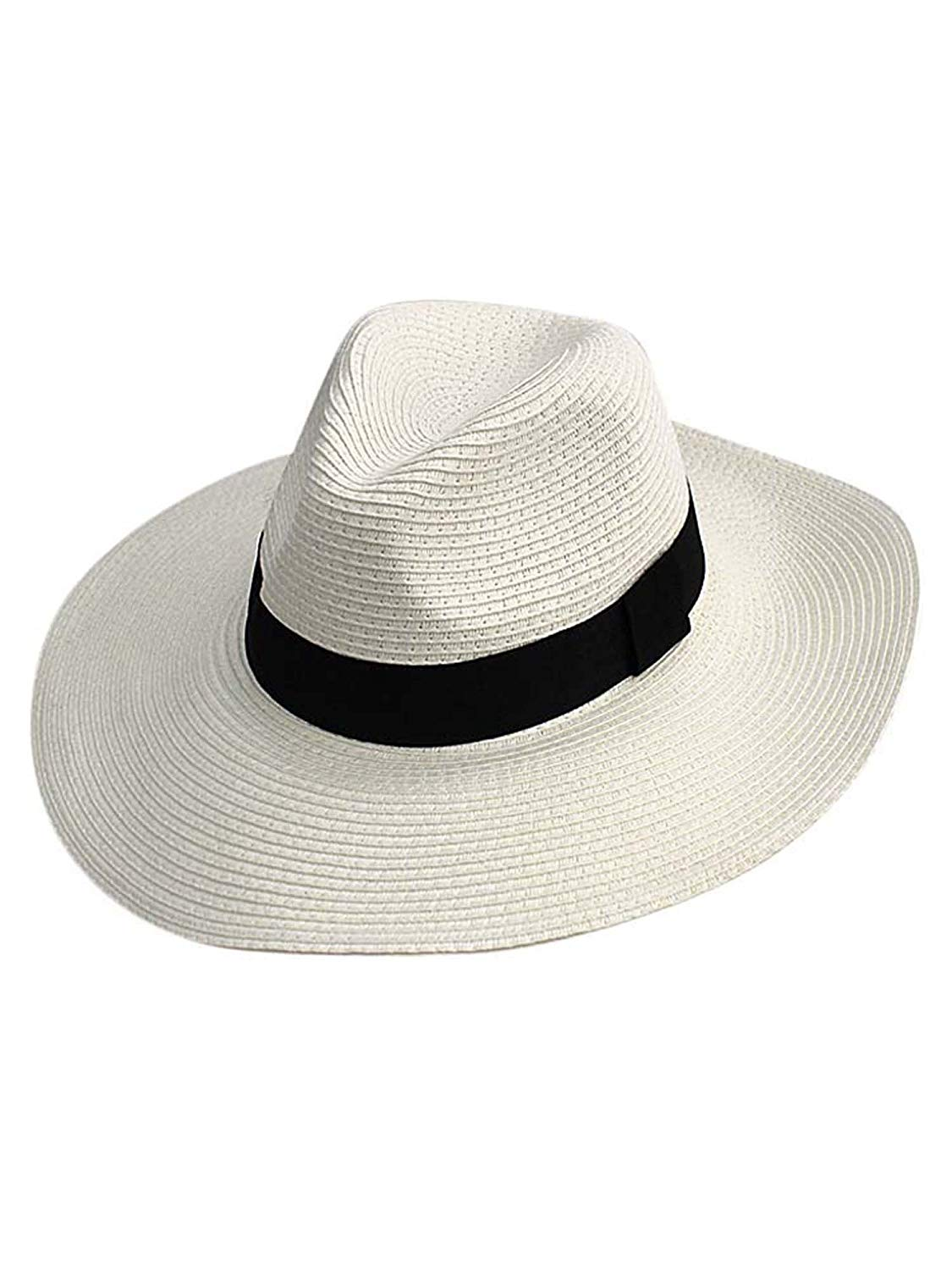 3943944d5bc Get Quotations · Woven Straw Wide Brim Panama Style Sun Hat