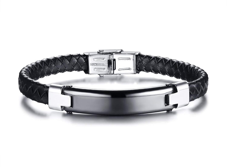 "Mealguet Jewelry Personalized Custom Engraved Men's Black Braided Leather Bracelets,Stainless Steel Nameplate ID Bracelet Wristband,8.4"""