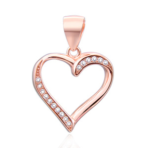POLIVA Fashion Designs Jewelry Silver 925 Rose Gold Plated Blank Heart Shaped Cz Pendant Charms