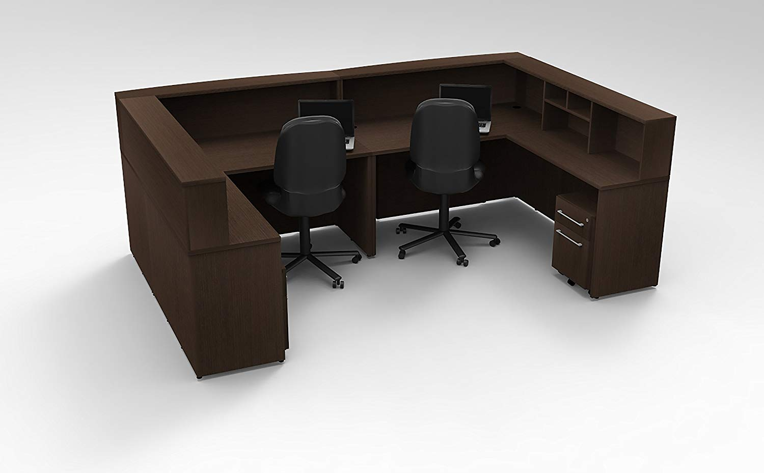 Office Reception Desk Reception Corner Collaboration Furniture Model 4313 10 Pc Group Contemporary Espresso color. Update Your Spaces with Commercial Grade Reception Collaboration Furniture.