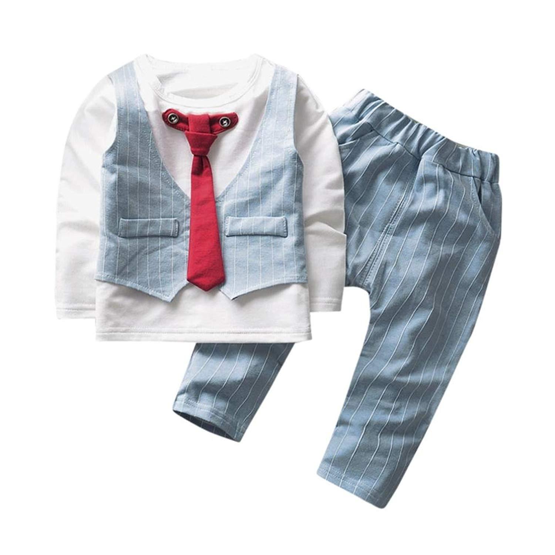790e859b1c20 Get Quotations · Dreammimi Little Boys Gentry Clothes Set Tie Stripe T-Shirt  Tops+Pants Kids Clothes