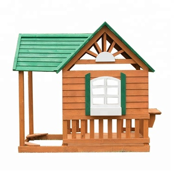 Eco Friendly Kids Wooden Playground Outdoor Playhouse With Sandbox