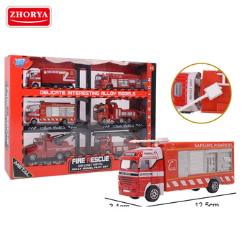 Zhorya hot sale super Fire truck metal model with plastic parts pull back and go action die cast sets