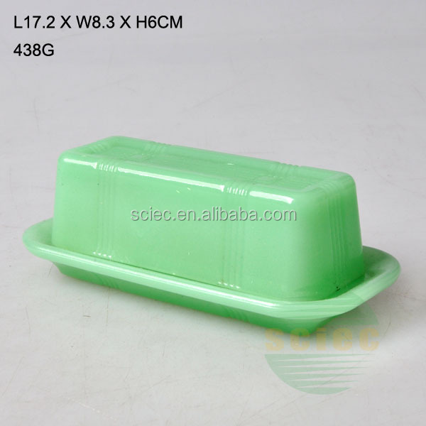 high quality jade like glass butter dish with lid