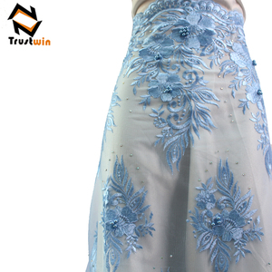 5 Yards small flower African Lace Fabrics Embroidered French Fabric Beaded Tulle Lace
