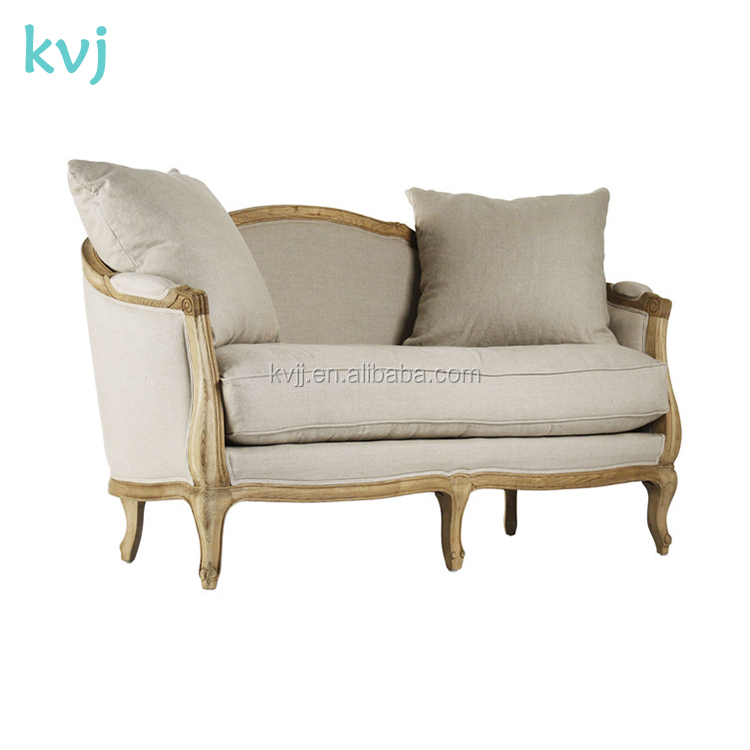 KVJ-7620 Three Seater Vintage Canvas Upholstery Day Bed Sofa Seating