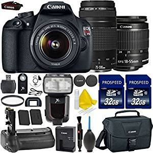 Canon EOS Rebel T5 18MP EF-S Digital SLR Camera Bundle + Canon EF-S 18-55mm IS Lens + Canon 75-300mm III Telephoto Lens + 2pc High Speed 32GB Memory Cards + UV Filter + Canon Case + 9pc Accessory Kit