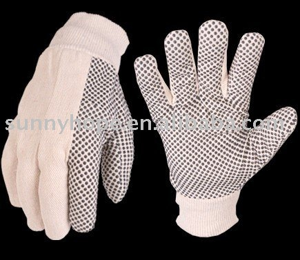 Sunnyhope pvc dotted garden glove,cotton dot gloves