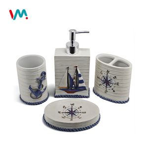 Bathroom accessories decorative home gift polyresin bath ocean set bathroom set with 4pcs