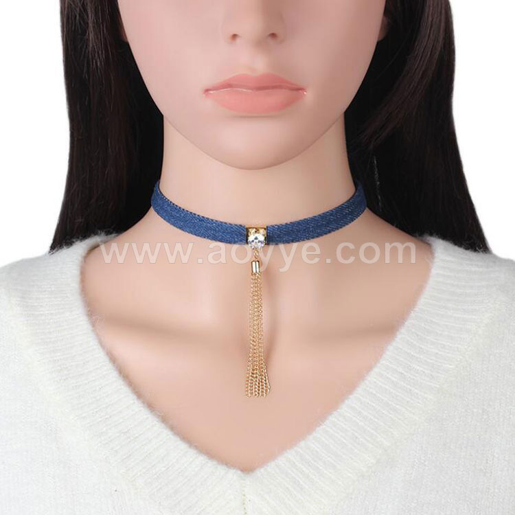 Hot style personality design denim alloy chain tassel fashion zircon necklace