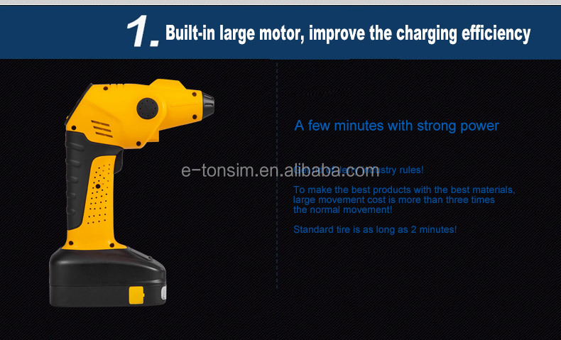 Portable automatic cordless air compressor tire inflator with LED light and HD pressure gauge