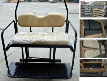 Club Car Golf Cart Rear Seat Kit Steel Version With Black Texture Coated End