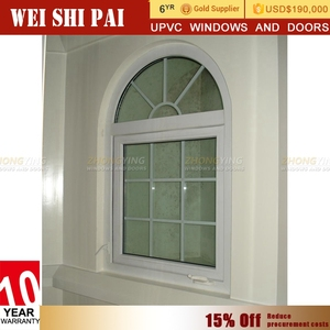 Excellent Soundproof Upvc White Arch Window Design , Casement Type Plastic Arched Windows That Open