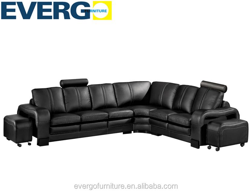 Genuine leather big corner sofa L shape