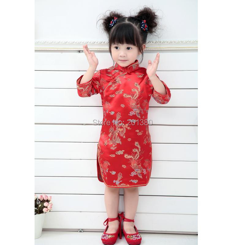 Qipao Three Quarter Baby Girl Summer Dress kid clothes Floral Cheongsams Gift New Year Traditional Chinese