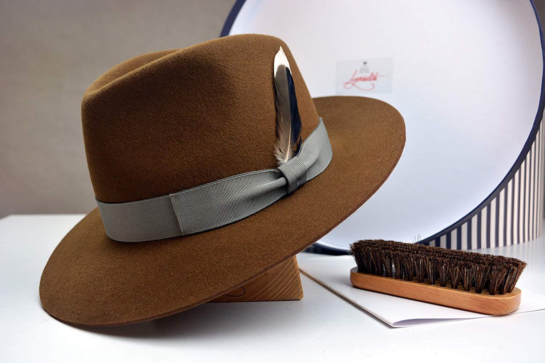 f6394bf6eec39 Get Quotations · The Drake - Saddle Men s Weight Fur Felt Fedora Hat - Medium  Brim - Men Women