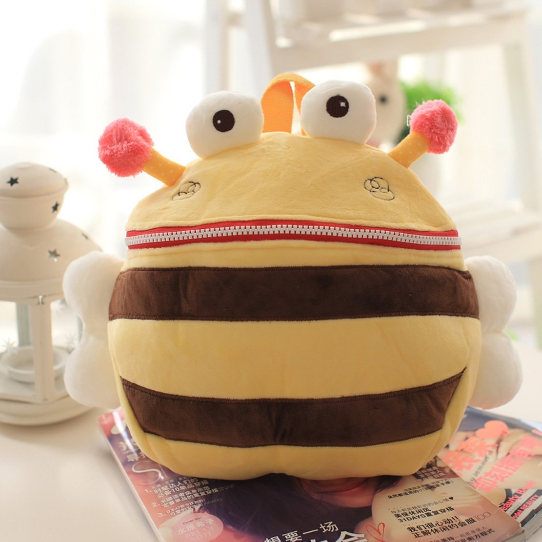 HIGOGOGO New!Cute Fish Beetle Frog Bee Crab Pattern Plush Kindergarten Schoolbag,Kids Snack Bag, Kids Cartoon Backpack Satchel School Bag (Bee)