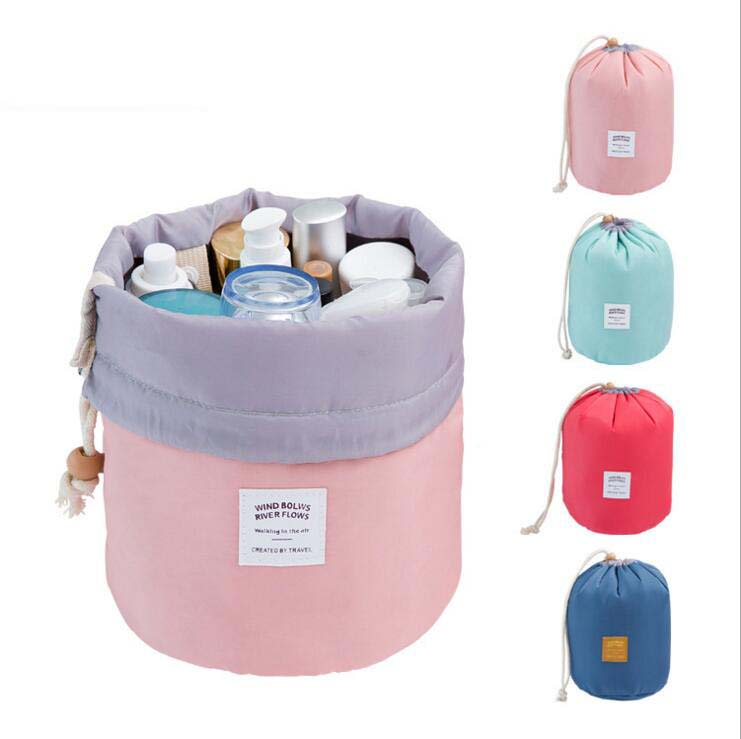New design high capacity Wholesale Polyester barrel shaped travel drawstring round Cosmetic Bags
