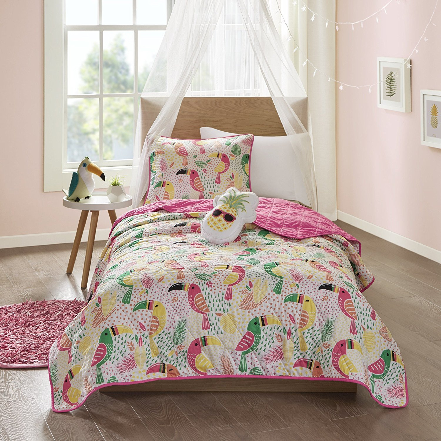 N2 3 Piece Girls White Yellow Green Pink Toucan Themed Coverlet Twin Set, All Over Tropical Birds Bedding, Fun Kids Multi Color Rain Forest Bird Geometric Botanical Leaf Pattern, Polyester